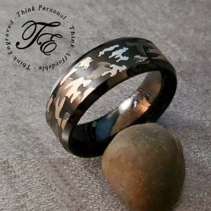 Mens Camo Wedding band or Promise Ring